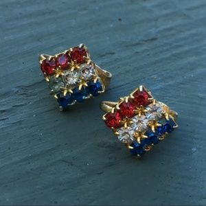 Vintage Red White & Blue Rhinestone Earrings
